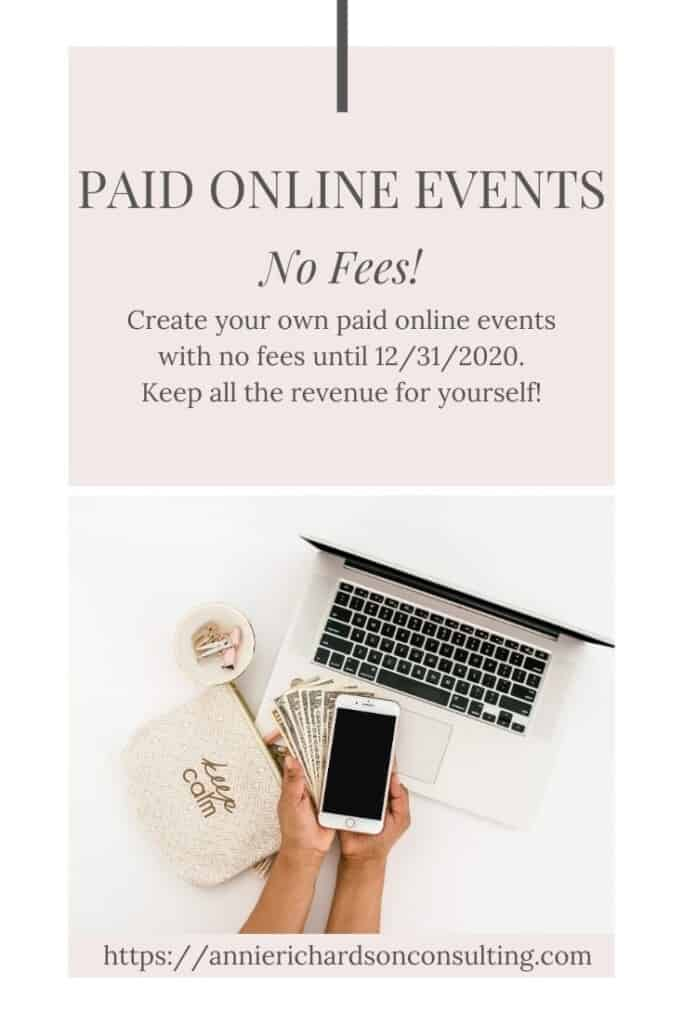 white background, pink oveerlay, computer, phone, money, paid online events no fee