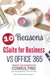 Best reasons to use gsuite for business vs office 365, white marble background dark pink letters
