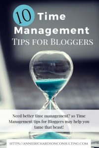 blue hourglass, 10 time management tips for bloggers