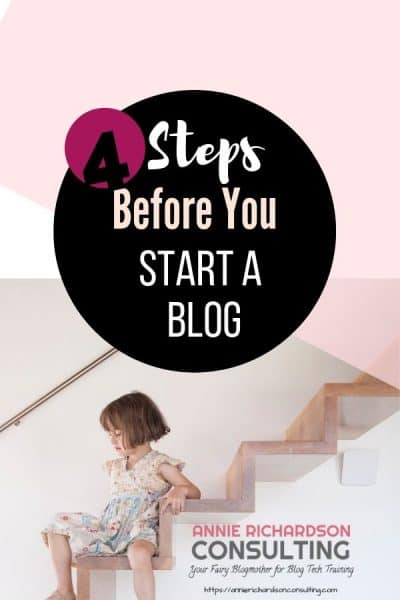 4 steps before you start a blog, girl on steps, pink background