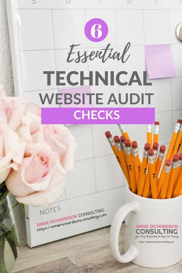 pink flowers, coffee cup, pencils, essential technical website audit checks